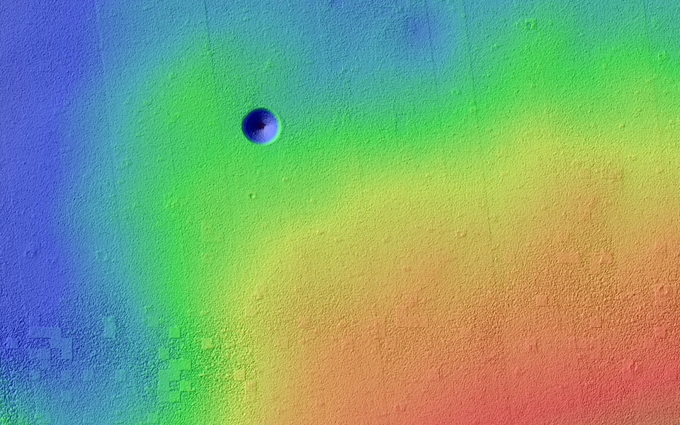 Pavonis Mons is a giant shield volcano similar to (although larger than) those on the Big Island of Hawaii. This image is from NASA's Mars Reconnaissance Orbiter.