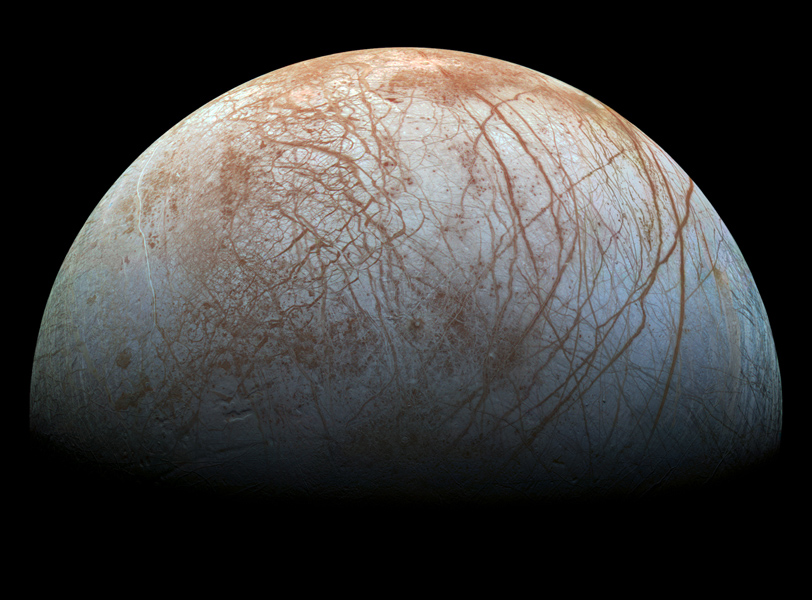The puzzling, fascinating surface of Jupiter's icy moon Europa looms large in images taken by NASA's Galileo spacecraft.