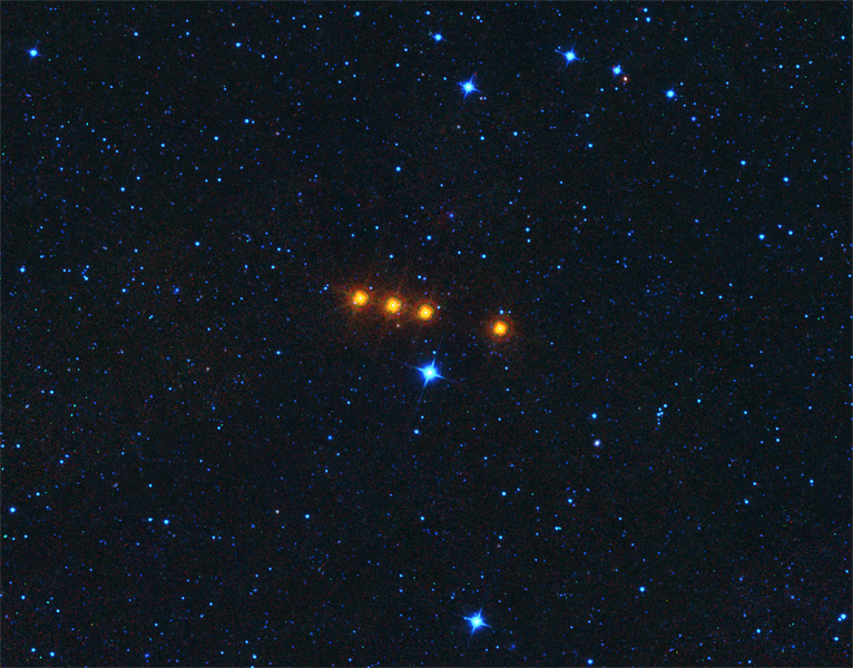 The asteroid Euphrosyne glides across a field of background stars in this time-lapse view from NASA's WISE spacecraft. Euphrosyne is quite dark in visible light, but glows brightly at infrared wavelengths.
