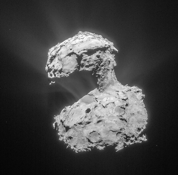 This image, taken by ESA's Rosetta navigation camera, was taken from a distance of about 53 miles (86 kilometers) from the center of Comet 67P/Churyumov-Gerasimenko on March 14, 2015.