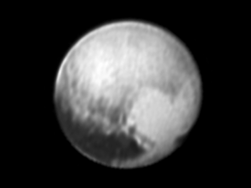 This image of Pluto was taken by NASA's New Horizons' spacecraft at 4:18 UT on July 9, 2015, from a range of 3.9 million miles (6.3 million kilometers) reveals new details on the surface of Pluto.