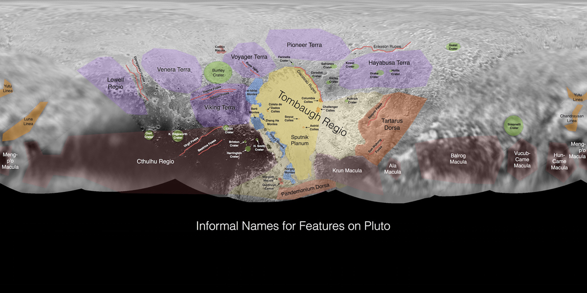 This image contains the initial, informal names being used by NASA's New Horizons team for the features and regions on the surface of Pluto. These names have not yet been approved by the International Astronomical Union (IAU).