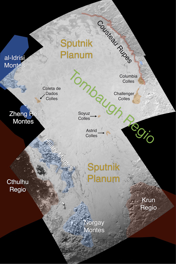 This image contains the initial, informal names being used by the New Horizons team for the features on Pluto's Sputnik Planum (plain). These names have not yet been approved by the International Astronomical Union (IAU).