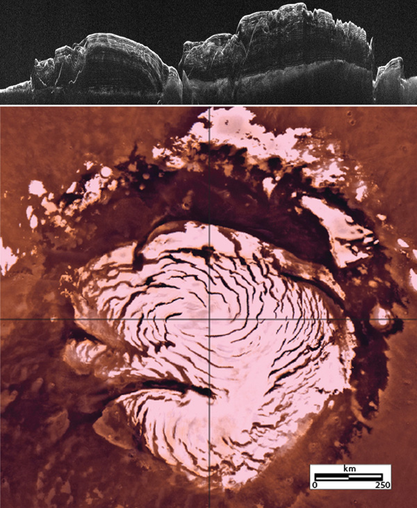This image montage features a two-dimensional radar cross section of Mars' north polar cap collected by SHARAD instrument on NASA's Mars Reconnaissance Orbiter spacecraft (top), and a color image mosaic of the polar cap from NASA's Viking project (bottom)