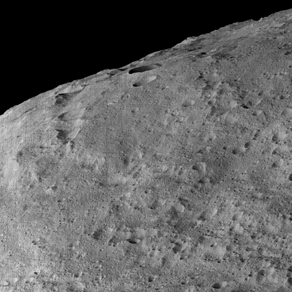 This view of Ceres, taken by NASA's Dawn spacecraft on December 10, 2015, shows an area in the southern mid-latitudes of the dwarf planet.