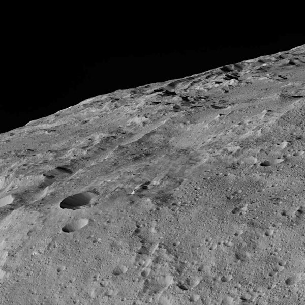 These views of Ceres, taken by NASA's Dawn spacecraft on December 10, 2015, shows an area in the southern mid-latitudes of the dwarf planet. They are located around a crater chain called Gerber Catena.