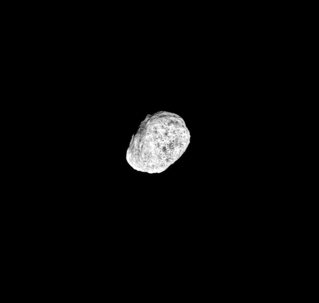 This image taken by NASA's Cassini spacecraft on Aug. 22, 2016, show's the moon Hyperion tumbles as it orbits Saturn. Hyperion's spin axis has a chaotic orientation in time.