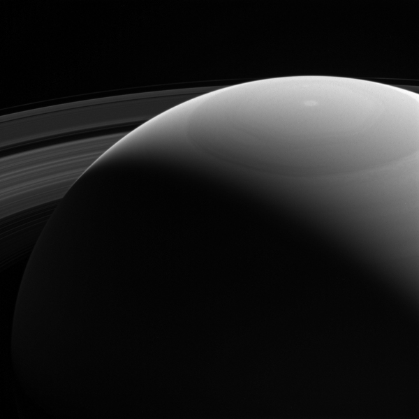 This view, seen by NASA's Cassini spacecraft, shows Saturn's daylit side, which no Earth-based telescope could capture. A spacecraft in orbit, like Cassini, can capture stunning scenes that would be impossible from our home planet.