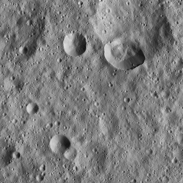 Ceres' densely cratered landscape is revealed in this image taken by the framing camera aboard NASA's Dawn spacecraft. The craters show various degrees of degradation. The youngest craters have sharp rims.