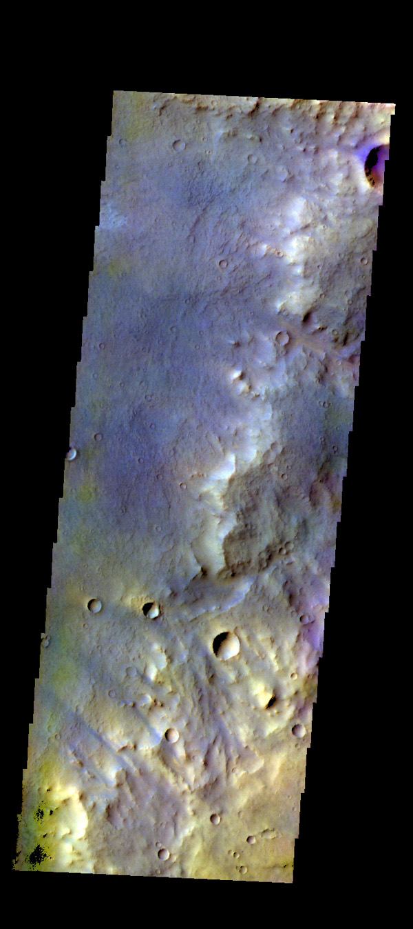 The THEMIS camera contains 5 filters. The data from different filters can be combined in multiple ways to create a false color image. This image from NASA's 2001 Mars Odyssey spacecraft shows part of the plains of Arabia Terra.