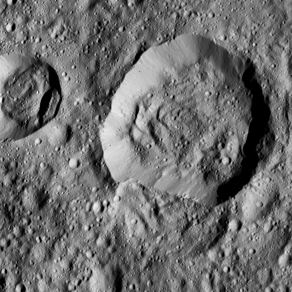 This view taken by NASA's Dawn spacecraft on June 17, 2016, features Liber Crater in Ceres' northern hemisphere, at right.