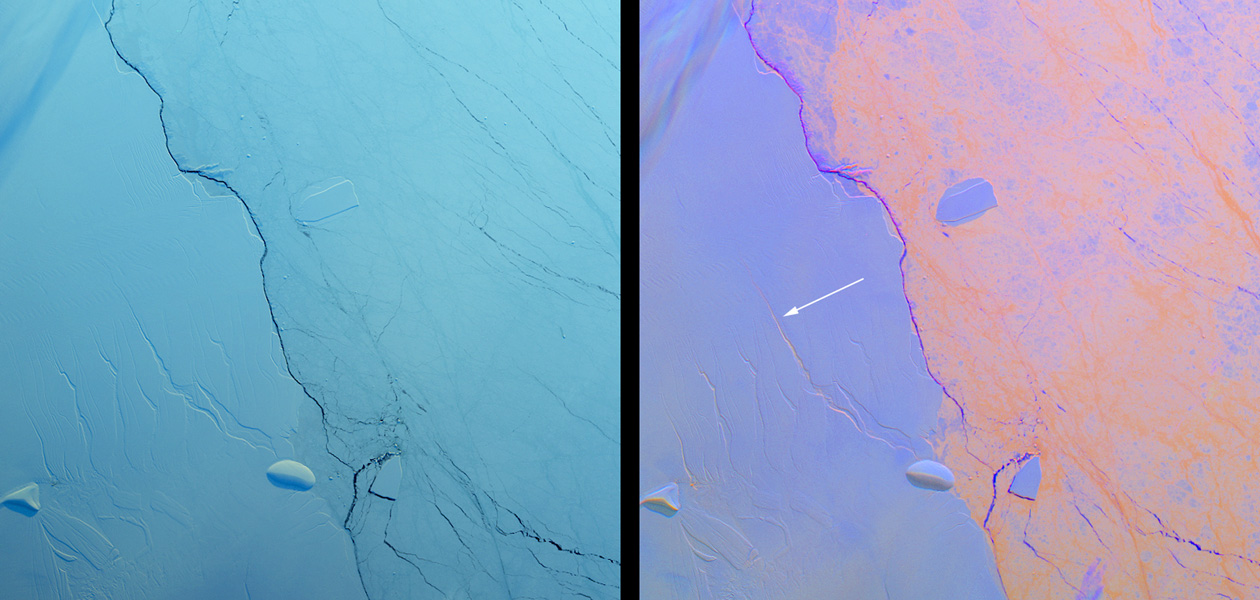 This images shows a large crack in the Larsen C shelf that has grown by another 13 miles in the past six months. Larsen C is the fourth largest ice shelf in Antarctica.