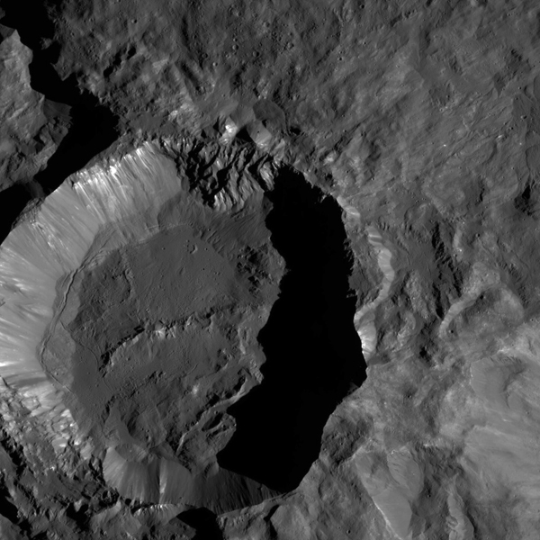 NASA's Dawn spacecraft views Kupalo Crater in this view of Ceres. Kupalo, which measures 16 miles (26 kilometers) across and is located at southern mid-latitudes, is named for the Slavic god of vegetation and harvest.