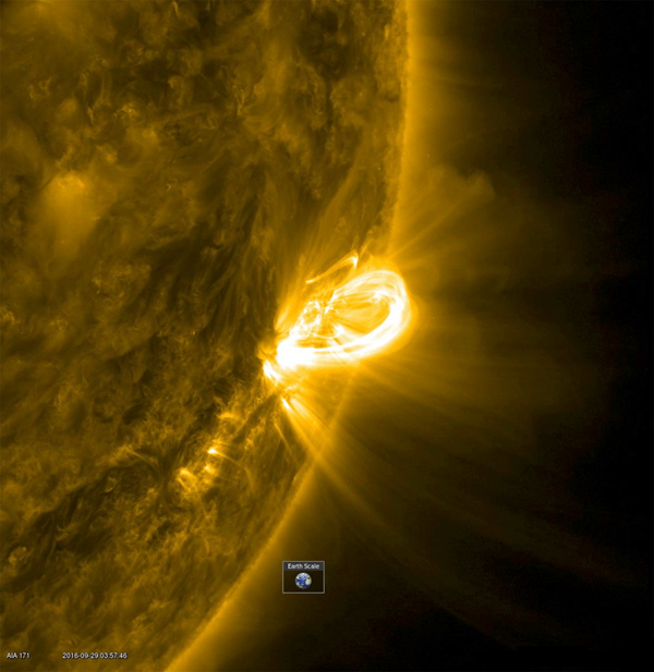 When an active region rotated into a profile view, NASA's Solar Dynamics Observatory was able to capture the magnificent loops arching above an active region (Sept. 28-29, 2016). The Earth was inset to give a sense of the scale of these towering arches.