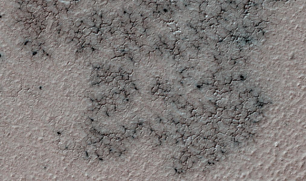 This image from NASA's Mars Reconnaissance Orbiter shows spidery channels eroded into Martian ground. This terrain type, called spiders or 'araneiform' (from the Latin word for spiders), appears in some areas of far-southern Mars.