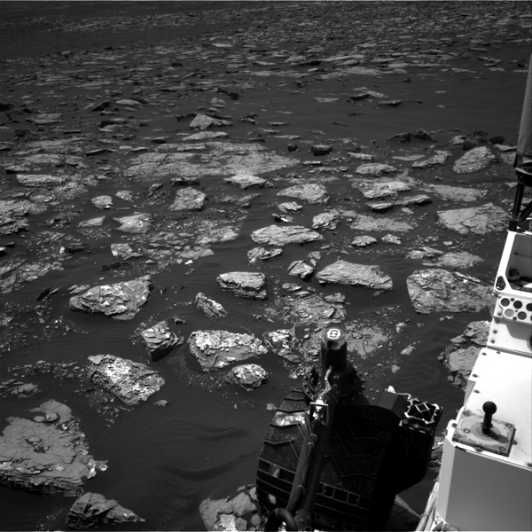This Dec. 2, 2016, view from the Navcam on the mast of NASA's Curiosity Mars Rover shows rocky ground within view while the rover was working at an intended drilling site called 'Precipice' on lower Mount Sharp.