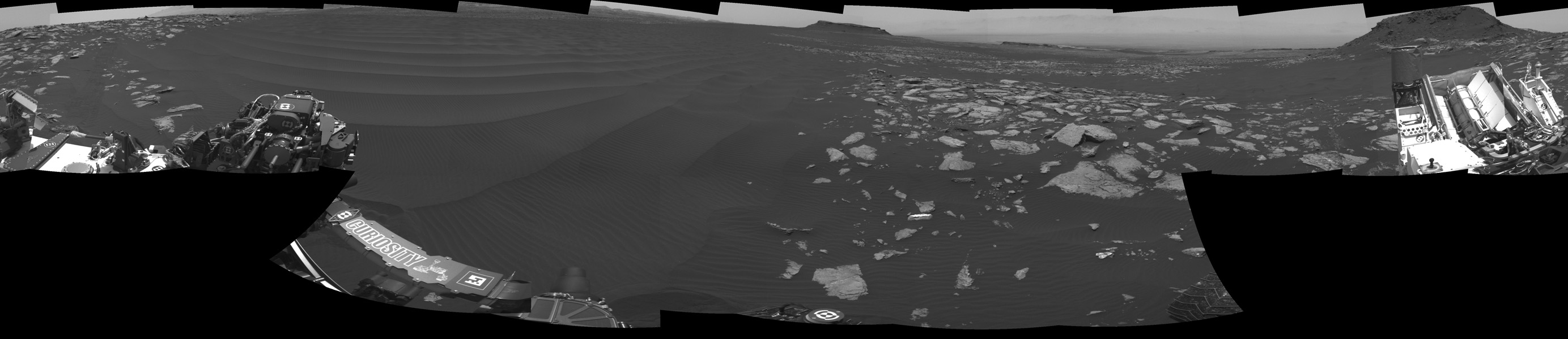 The left side of this 360-degree panorama from NASA's Curiosity Mars rover shows the long rows of ripples on a linear shaped dune in the Bagnold Dune Field on the northwestern flank of Mount Sharp.