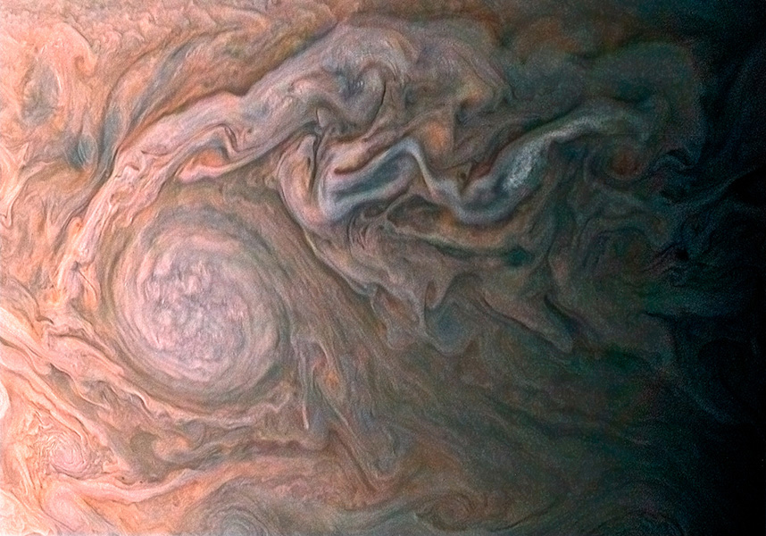 NASA's Juno spacecraft skimmed the upper wisps of Jupiter's atmosphere when JunoCam snapped this image on Feb. 2, 2017. from an altitude of about 9,000 miles (14,500 kilometers) above the giant planet's swirling cloudtops.