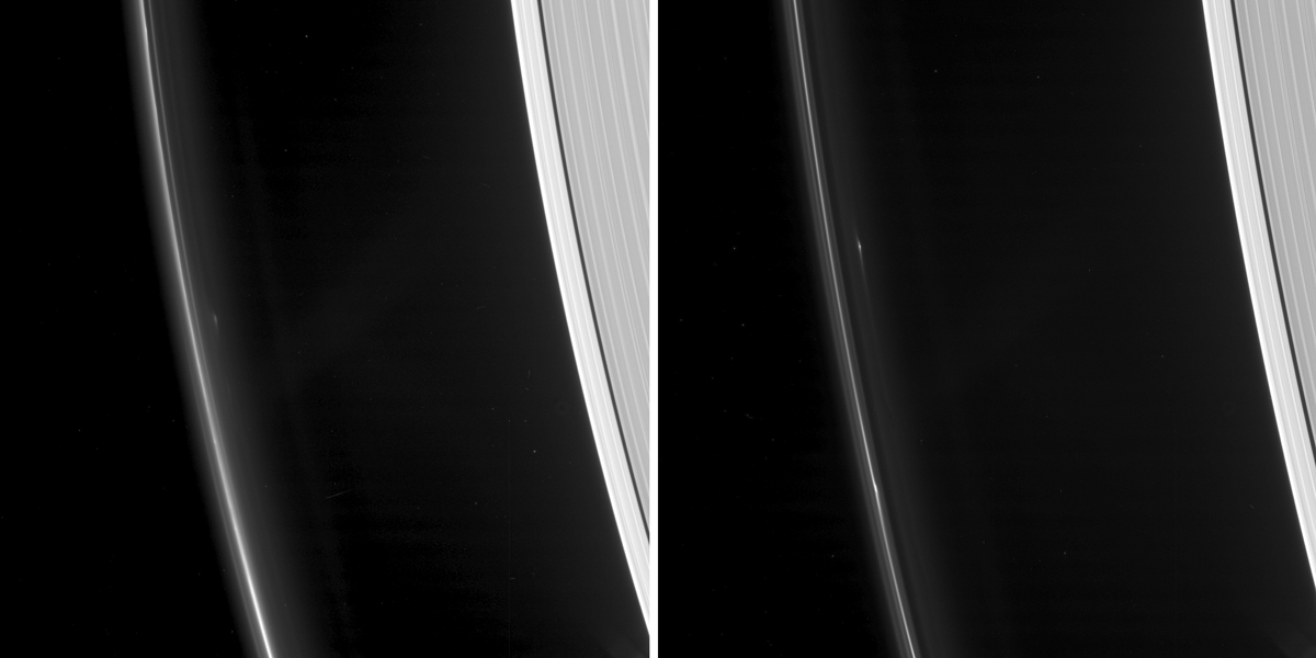 As NASA's Cassini spacecraft continues its weekly ring-grazing orbits, diving just past the outside of Saturn's F ring, it is tracking several small, persistent objects there.