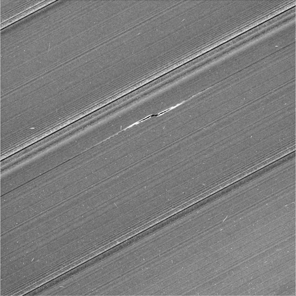 This view from NASA's Cassini spacecraft shows Cassini's best image of the propeller feature known informally as Bleriot. Bleriot is the largest of the propellers in Saturn's rings.