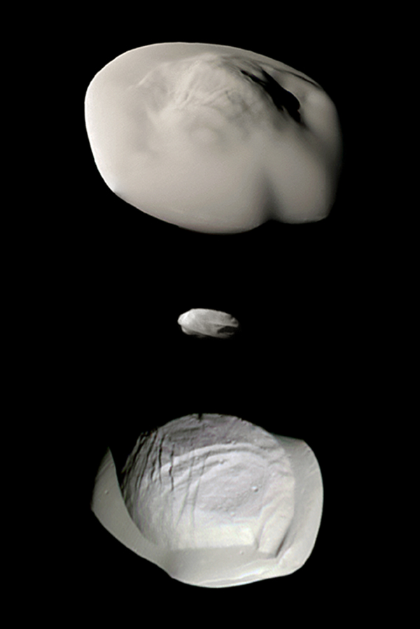 This montage of views from NASA's Cassini spacecraft shows three of Saturn's small ring moons: Atlas (top), Daphnis (middle) and Pan (bottom) at the same scale for ease of comparison.