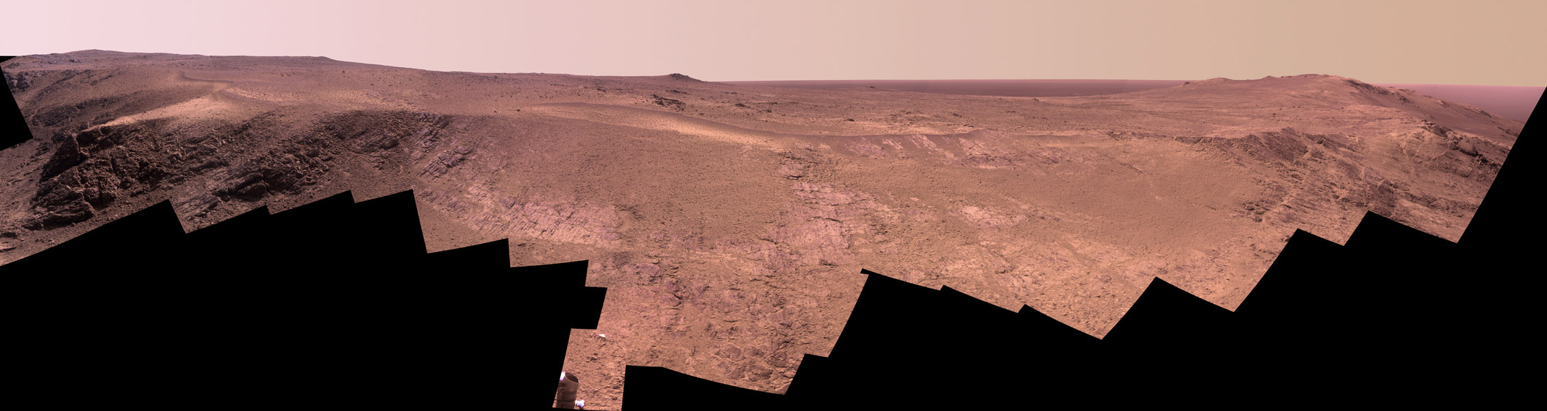 A ridge called 'Rocheport' on the western rim of Mars' Endeavour Crater spans this mosaic of images from the panoramic camera (Pancam) on NASA's Mars Exploration Rover Opportunity.