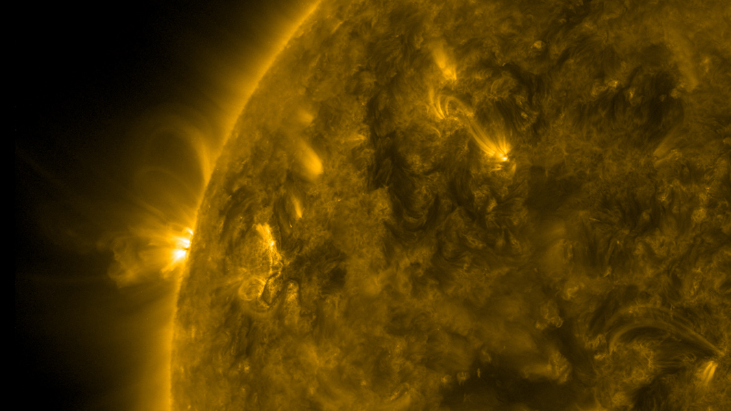 As an active region rotated into view, NASA's Solar Dynamics Observatory was able to observe well-defined magnetic loops gyrating above the sun between Mar, 23-24, 2017.