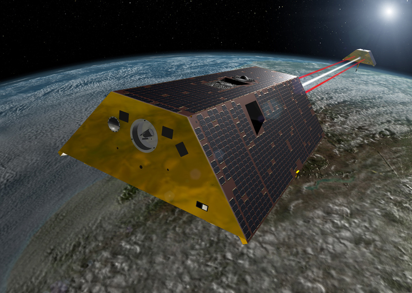 This artist's rendering shows the twin spacecraft of the Gravity Recovery and Climate Experiment Follow-On (GRACE-FO) mission, a partnership between NASA and the German Research Centre for Geosciences (GFZ).