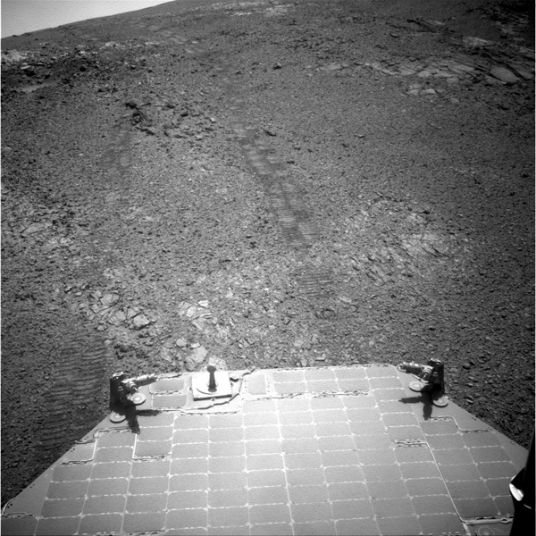 This image from NASA's Mars Exploration Rover Opportunity provides a look back to the crest of Endeavour Crater's rim after the rover began descending