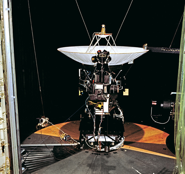 This archival photo shows NASA's Voyager proof test model, which did not fly in space, in the 25-foot space simulator chamber at NASA's Jet Propulsion Laboratory, Pasadena, California.