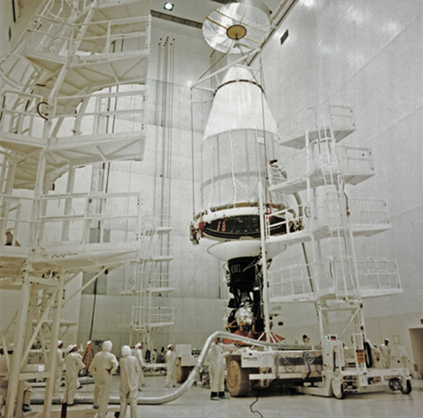 This archival photo shows NASA's Voyager 2 at the Spacecraft Assembly and Encapsulation Facility at NASA's Kennedy Space Center in Cape Canaveral, Florida.