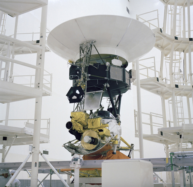 This archival photo shows the encapsulation of NASA's Voyager Development Test Model at NASA's Kennedy Space Center's Eastern Test Range. The picture was taken on October 8, 1976.