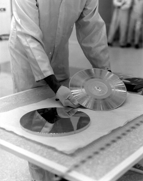 NASA's Voyager 1 Golden Record is prepared for installation on the spacecraft.