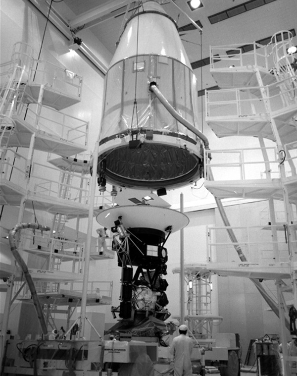 NASA's Voyager 2 spacecraft, which was the first of the two Voyagers to launch, is seen at the Spacecraft Assembly and Encapsulation Facility-1 at NASA's Kennedy Space Center in Cape Canaveral, Florida, in August 1977.