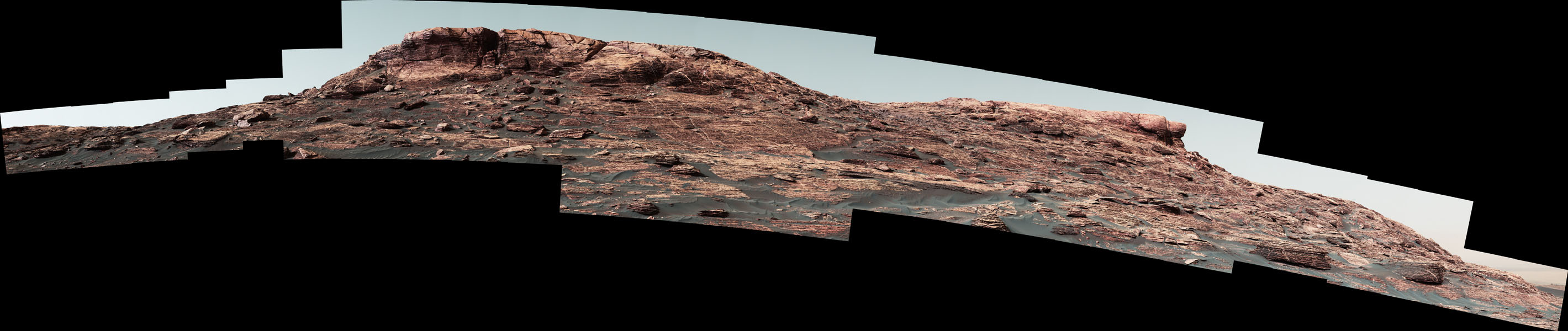 Researchers used the Mastcam on NASA's Curiosity Mars rover to gain this detailed view of layers in 'Vera Rubin Ridge' from just below the ridge.