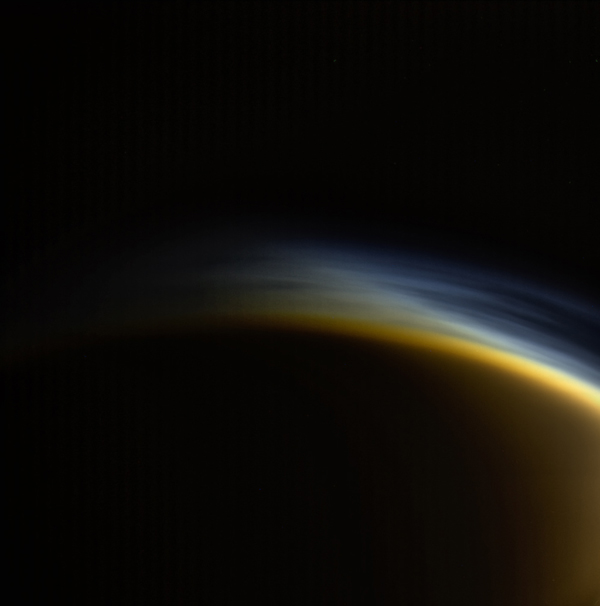 In this view from NASA's Cassini spacecraft, individual layers of haze can be distinguished in the upper atmosphere of Titan, Saturn's largest moon.