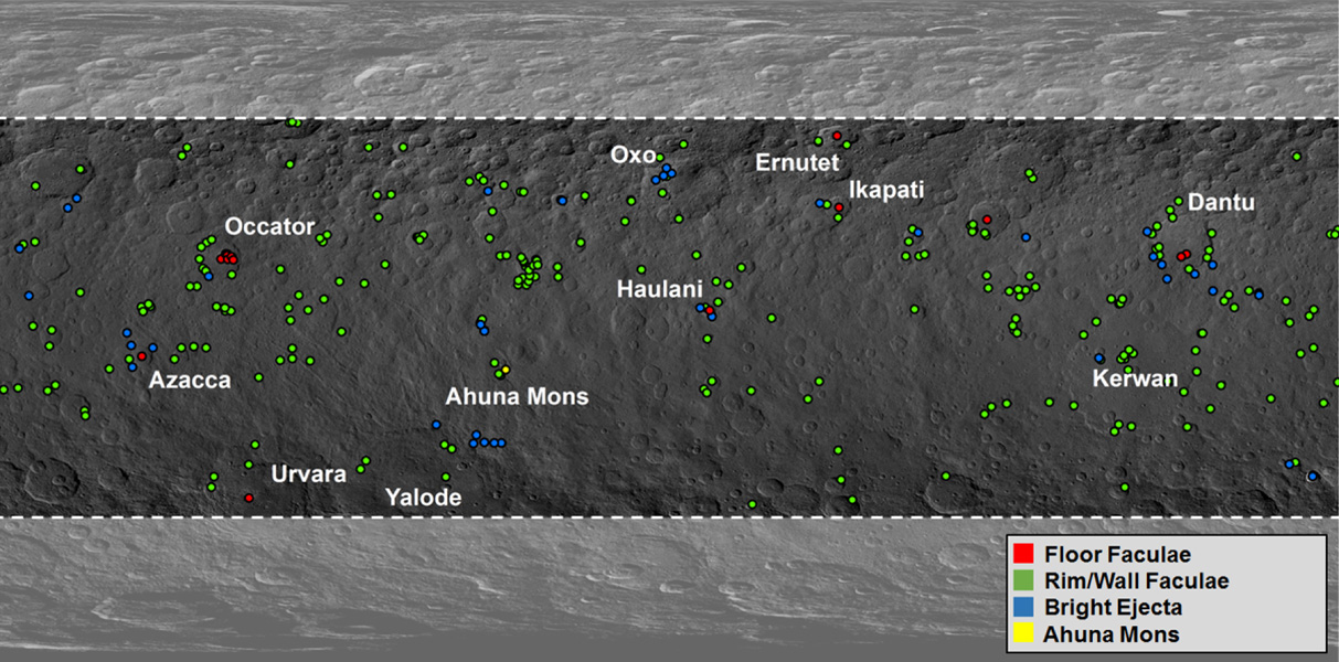 This map from NASA's Dawn mission shows locations of bright material on dwarf planet Ceres. There are more than 300 bright areas, called 'faculae,' on Ceres.