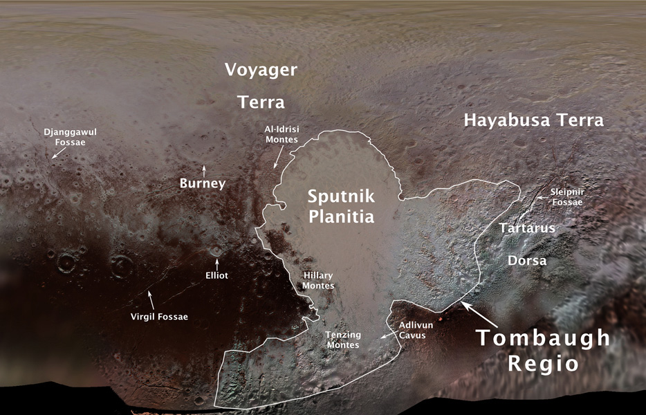 This image from NASA's New Horizons spacecraft shows an overlay of the first official Pluto feature names.