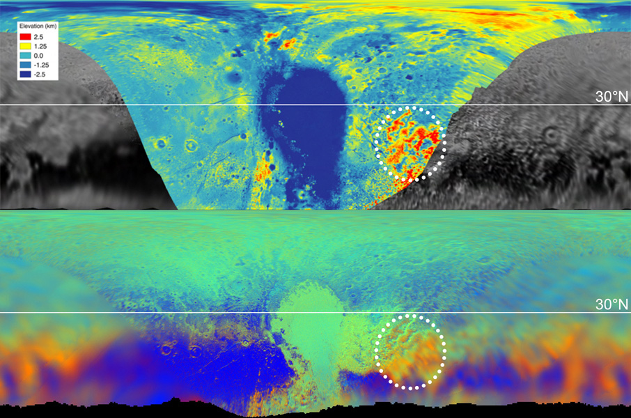 These maps are from NASA's New Horizons' data on the topography (top) and composition (bottom) of Pluto's surface. In the high-resolution topographical map, the highlighted red region is high in elevation.