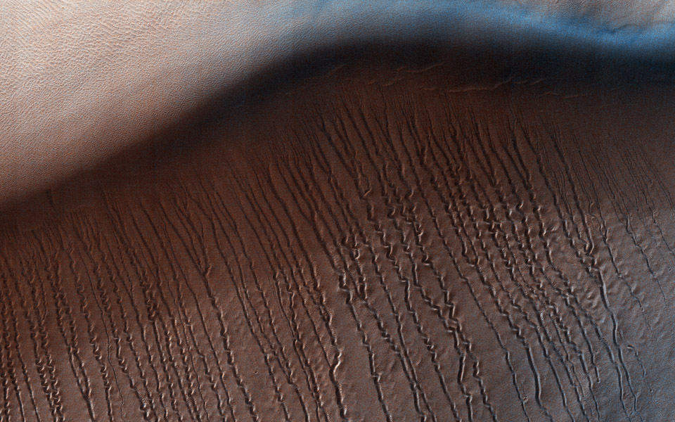 This image from NASA's Mars Reconnaisance Orbiter covers a small central portion of the Hellas Planitia basin, the largest visible impact basin in the Solar System, and shows a dune field with lots of dust devil trails.