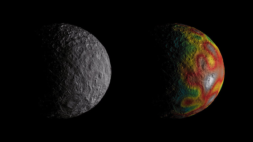 NASA's Dawn spacecraft took these images of dwarf planet Ceres. The map overlaid on the right gives scientists hints about Ceres' internal structure.