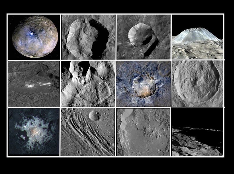 This collage shows some of the most interesting geological sites that NASA's Dawn spacecraft has revealed at dwarf planet Ceres.