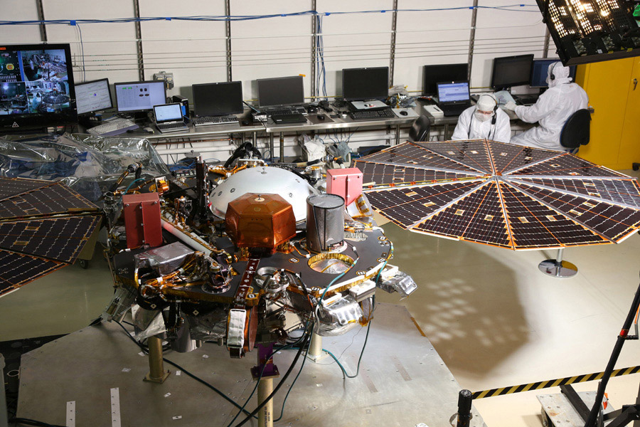 While in the landed configuration for the last time before arriving on Mars, NASA's InSight lander was commanded to deploy its solar arrays to test and verify the exact process that it will use on the surface of the Red Planet.