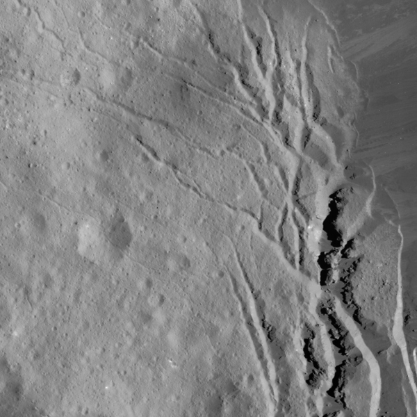 This image of Occator Crater's southeastern wall and floor on Ceres was obtained by NASA's Dawn spacecraft on June 17, 2018 from an altitude of about 22 miles (36 kilometers).