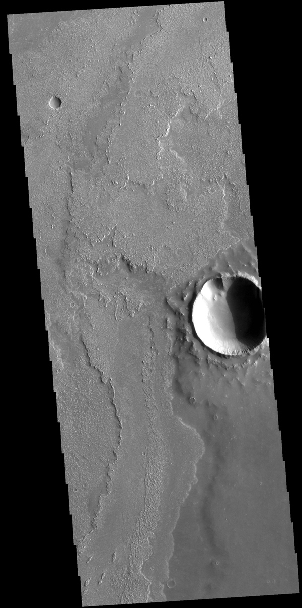 This image from NASA's Mars Odyssey shows a small portion of the vast lava flow field of Daedalia Planum. The flows originate at Arsia Mons, the youngest of the three Tharsis volcanoes.