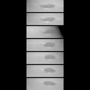 These images taken by NASA's Voyager 2 show changes in the clouds around Neptune's Great Dark Spot (GDS) over a four and one-half-day period. From top to bottom the images show successive rotations of the planet an interval of about 18 hours.