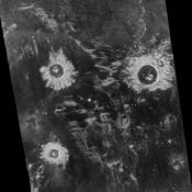 Three large meteorite impact craters are seen in this image obtained by NASA's Magellan spacecraft  of the Lavinia region of Venus.