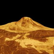 Maat Mons is displayed in this 3-dimensional perspective view of the surface of Venus taken by NASA Magellan. The viewpoint is located north of Maat Mons.