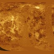 The western half of the planet is displayed in this simple cylindrical map of the surface of Venus obtained by NASA's Magellan spacecraft.