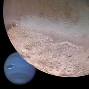 This computer generated montage created from images obtained by NASA's Voyager 2 shows Neptune as it would appear from a spacecraft approaching Triton, Neptune's largest moon at 2706 km (1683 mi) in diameter.